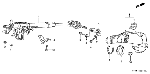 1998 accord DX 4 DOOR 4AT STEERING COLUMN diagram