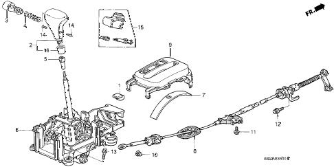 2001 accord EX-UL 4 DOOR 4AT SELECT LEVER (1) diagram