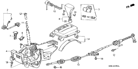 2000 accord LX 4 DOOR 4AT SELECT LEVER (2) diagram
