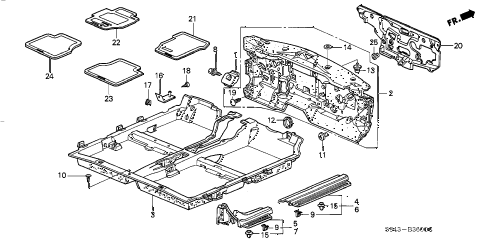 1998 accord DX 4 DOOR 4AT FLOOR MAT diagram