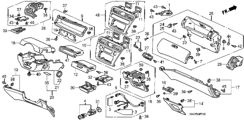 1999 accord EXL(LEATHER) 4 DOOR 5MT INSTRUMENT PANEL GARNISH diagram