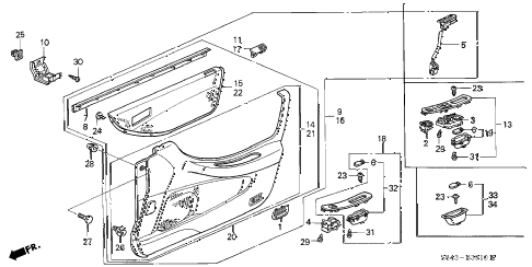 1999 accord EXL(LEATHER) 4 DOOR 5MT FRONT DOOR LINING diagram
