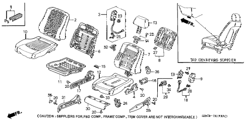 2000 accord EX-SUL 4 DOOR 4AT FRONT SEAT (SIDE SRS) (R.) diagram
