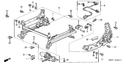 1998 accord EX 4 DOOR 5MT FRONT SEAT COMPONENTS (L.) (POWER HEIGHT) diagram