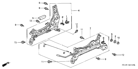 1998 accord DX 4 DOOR 5MT FRONT SEAT COMPONENTS (R.) (1) diagram