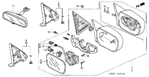 1998 accord EXL(LEATHER) 4 DOOR 5MT MIRROR (1) diagram