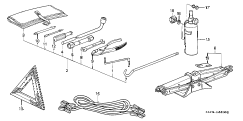 2000 accord SE-UL 4 DOOR 4AT TOOLS - JACK diagram
