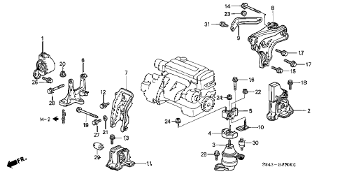 2000 accord EX 4 DOOR 5MT ENGINE MOUNTS (MT) (1) diagram