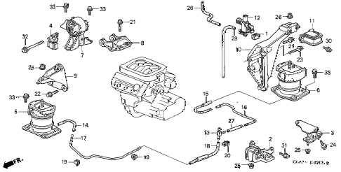 honda online store 2000 accord engine mounts (v6) (3) parts ford edge motor diagram 2000 accord lxv6 4 door 4at engine mounts (v6) (3) diagram