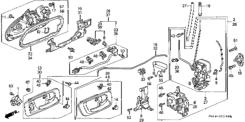 2001 accord EXL(LEATHER) 4 DOOR 5MT FRONT DOOR LOCKS diagram