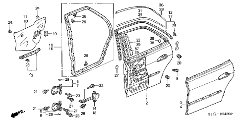 2001 accord EX-UL 4 DOOR 5MT REAR DOOR PANELS diagram