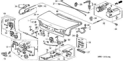 2001 accord LX(UL) 4 DOOR 4AT TRUNK LID diagram