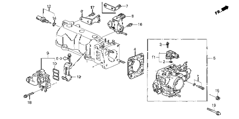 1999 accord LX 4 DOOR 4AT THROTTLE BODY diagram