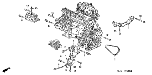 1999 accord LX(ABS) 4 DOOR 4AT ALTERNATOR BRACKET diagram