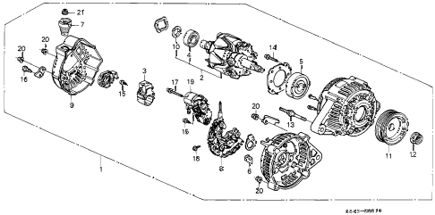 2000 accord DX 4 DOOR 5MT ALTERNATOR (DENSO) diagram