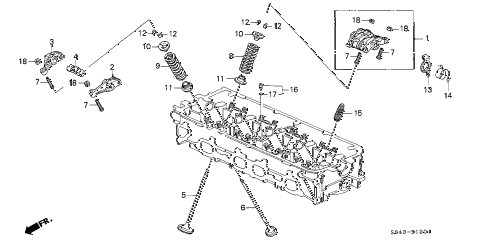 2000 accord EX 4 DOOR 5MT VALVE - ROCKER ARM (VTEC) (L4) diagram