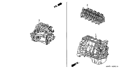1999 accord LX 4 DOOR 4AT ENGINE ASSY. - TRANSMISSION ASSY. (L4) diagram