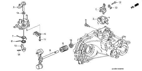 1998 accord LX 4 DOOR 5MT MT SHIFT ARM diagram