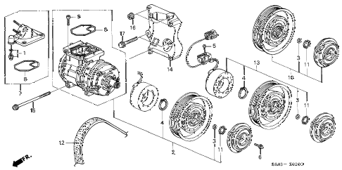 1998 accord DX 4 DOOR 4AT A/C COMPRESSOR diagram