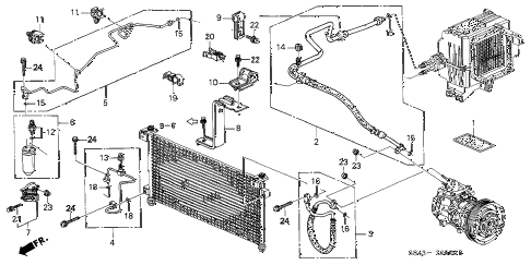 1998 accord DX 4 DOOR 4AT A/C HOSES - PIPES diagram