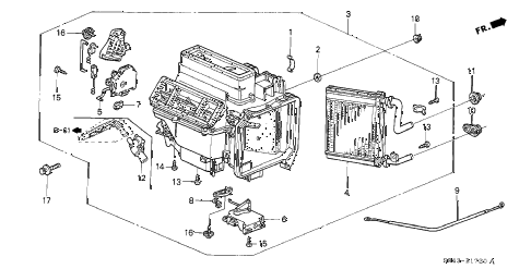 2002 accord LX(UL SIDE SRS) 4 DOOR 4AT HEATER UNIT diagram