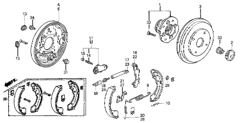 2002 accord DX 4 DOOR 4AT REAR BRAKE (DRUM) diagram