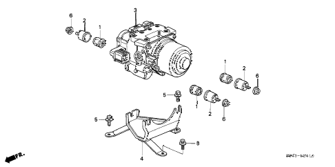 2002 accord EX(UL) 4 DOOR 4AT ABS MODULATOR diagram