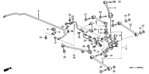 2002 accord DX(SIDE SRS) 4 DOOR 5MT REAR LOWER ARM diagram