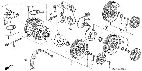 2002 accord VP(SIDE SRS) 4 DOOR 4AT A/C COMPRESSOR diagram