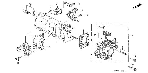 2002 accord LX(SIDE SRS) 4 DOOR 5MT THROTTLE BODY diagram