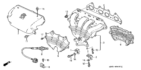 2002 accord EX(UL) 4 DOOR 4AT EXHAUST MANIFOLD (2) diagram