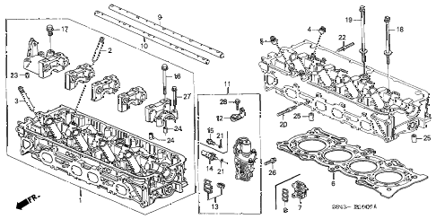 2002 accord LX(ABS SIDE SRS) 4 DOOR 4AT CYLINDER HEAD diagram