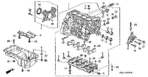 2002 accord LX(UL ABS) 4 DOOR 4AT CYLINDER BLOCK - OIL PAN diagram
