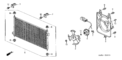 2002 accord DX 4 DOOR 5MT A/C AIR CONDITIONER (CONDENSER) diagram