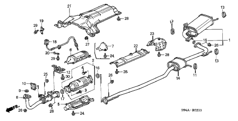 2002 accord LX(UL SIDE SRS) 4 DOOR 4AT EXHAUST PIPE diagram