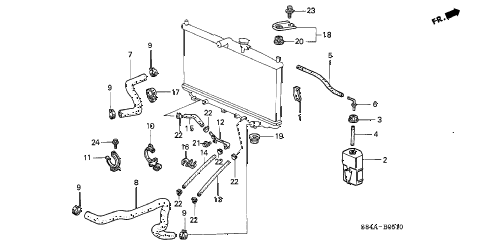 2002 accord EX(UL LEATHER) 4 DOOR 4AT RADIATOR HOSE diagram