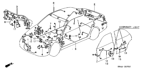 2002 accord EX(LEATHER) 4 DOOR 4AT WIRE HARNESS diagram