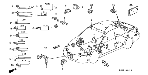 2002 accord SE(SIDE SRS) 4 DOOR 4AT HARNESS BAND - BRACKET diagram