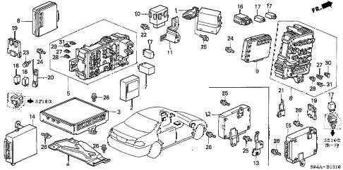 2002 accord VP 4 DOOR 4AT CONTROL UNIT (CABIN) diagram