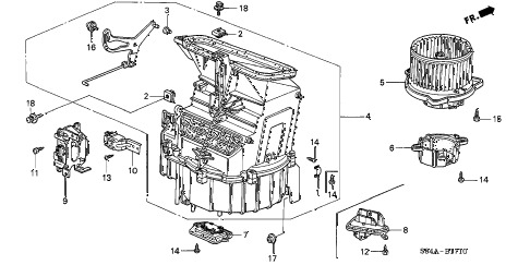 2002 accord DX 4 DOOR 4AT HEATER BLOWER diagram