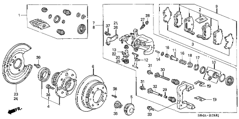 2002 accord EX(SUL) 4 DOOR 4AT REAR BRAKE (DISK) diagram
