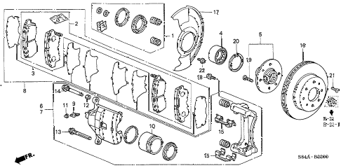 2002 accord LX(ABS SIDE SRS) 4 DOOR 4AT FRONT BRAKE (1) diagram