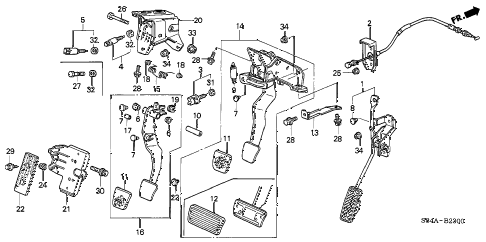 2002 accord DX 4 DOOR 5MT PEDAL diagram