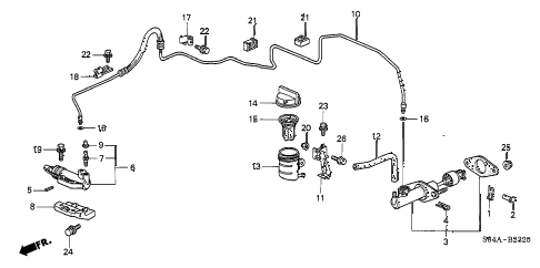 2002 accord LX(SIDE SRS) 4 DOOR 5MT CLUTCH MASTER CYLINDER diagram