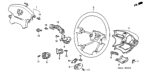 2002 accord LX(ABS SIDE SRS) 4 DOOR 4AT STEERING WHEEL (SRS) diagram