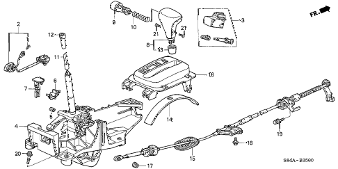 2002 accord LX(UL) 4 DOOR 4AT SELECT LEVER (1) diagram