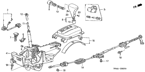 2002 accord LX(UL SIDE SRS) 4 DOOR 4AT SELECT LEVER (2) diagram