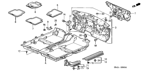 2002 accord DX(SIDE SRS) 4 DOOR 5MT FLOOR MAT diagram