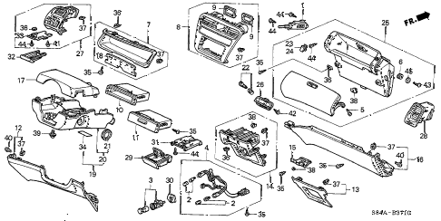 2002 accord EX(LEATHER) 4 DOOR 5MT INSTRUMENT PANEL GARNISH diagram