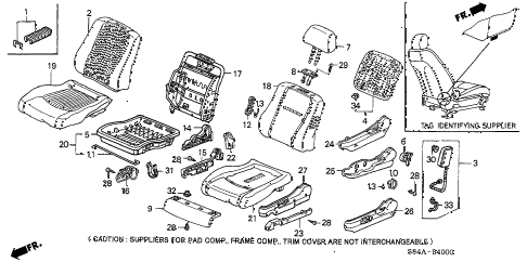 2002 accord DX 4 DOOR 5MT FRONT SEAT (L.) diagram